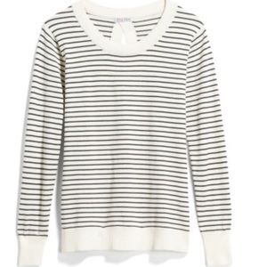 Keyhole Back-Detail Striped White Sweater in Med
